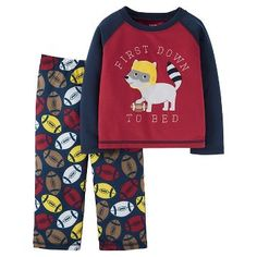 Boys' 2pc Long Sleeve Poly PJ Burgundy/Navy  - Just One You™Made by Carter's®