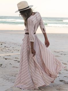 Description Fabric :Fabric has some stretch Season :Fall Pattern Type :Striped Sleeve Length :Three Quarter Length Sleeve Color :Pink Dresses Length :Maxi Style :Beach Material :Cotton Neckline :V neck Silhouette :Shift Decoration :Split Front Shoulder(cm) :S:39cm,M:40cm,L:41cm,XL:42cm Bust(cm) :S:94cm,M:98cm,L:102cm,XL:106cm Waist Size(cm) :S:60-92cm,M:64-96cm,L:68-100cm,XL:72-104cm Length(cm) :S:145cm,M:146cm,L:147cm,XL:148cm Sleeve Length(cm) :S:45cm,M:46cm,L:47cm,XL:48cm Size Available…