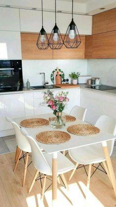 Small Apartment Kitchen, Home Decor Kitchen, Interior Design Kitchen, Home Kitchens, Kitchen Chairs, Simple Apartment Decor, Kitchen Ideas, Apartment Living, Kitchen Cabinets