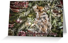 Christmas Holiday Greeting Card. Christmas trimmings that include an angel with red and gold baubles. Picturesque Christmas scenes available on stretched canvas, prints and greeting cards. Perfect for the Holidays!