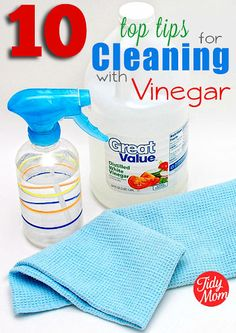 10 Top Tips for Cleaning with Vinegar - the all natural way to clean.  at TidyMom.net