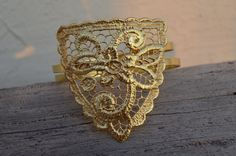 Arm cuff  upper arm cuff   lace bracelet   gold plated  by MyElesi, $70.00