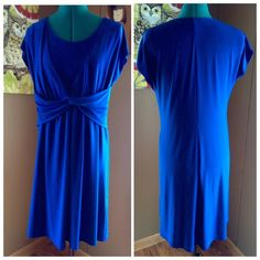 """Royal Blue Stretch Dress This royal blue dress from Tiana B features a beautiful accent around the bust line and flattering fit and flare style.  Nearly sleeveless, lightweight, and stretchy for maximum comfort while you look amazing. Condition: EUC - no rips, stains, odors Material: Polyester Spandex Blend Size LG Bust: Minimum 40"""" - lots of stretch there Length: 36"""" Tiana B Dresses Midi"""