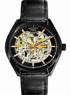 Rotary Mens Black Strap Skeleton Watch Rotary watches combine the ageless elegance of classic timekeeping with stunning contemporary designs. Product Description : - Automatic movement. - Skeleton dial. - Stainless steel case. - Black leat http://www.comparestoreprices.co.uk/mens-watches/rotary-mens-black-strap-skeleton-watch.asp