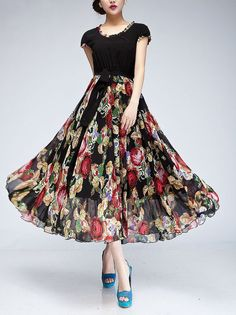Spring summer chiffon long dress lady women clothing gown (FGK170)