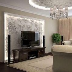 Tv Wall Design, Bed Design, House Design, Interior Design Living Room, Living Room Designs, Bedroom Wallpaper Murals, Lcd Panel Design, Modern Tv Wall Units, Wardrobe Design Bedroom