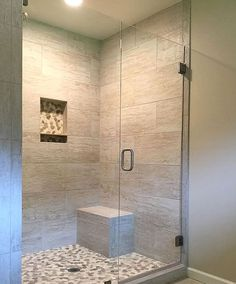 5 Lucky Clever Tips: Walk In Shower Remodeling River Rocks shower remodel diy walk in.Fiberglass Shower Remodel walk in shower remodel glasses.Walk In Shower Remodel No Door. Bathroom Shower Doors, Bathroom Ideas, Shower Tub, Master Shower, Frameless Glass Shower Doors, Bathroom Bench, Vanity Bathroom, Large Tile Shower, Bathroom Shower Remodel