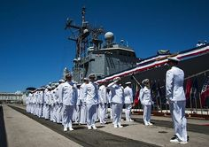 PEARL HARBOR (July 18, 2013) The crew formerly assigned to the guided-missile frigate USS Reuben James (FFG 57) declare the ship as all clear during the ship's decommissioning ceremony on Joint Base Pearl Harbor-Hickam (JBPHH). USS Reuben James was the first and is the last guided-missile frigate to be homeported in Pearl Harbor. (U.S. Navy photo by Mass Communication Specialist 2nd Class Dustin W. Sisco)