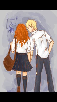 Rose and Scorpius <3 Also, their houses aren't defined in this one, so.. <3