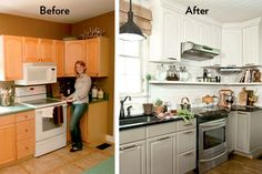 Great kitchen update and way to add more storage - Raising cabinets to ceiling height and adding an attractive storage shelf at easy access level.  That together with a paint job, and new backsplash, counters and  hardware completed this inexpensive  kitchen redo.  Kitchen Storage Ideas | Storage Solutions from HouseLogic