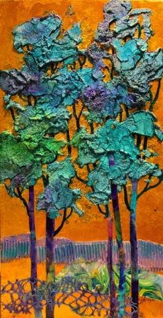Blue Trees mixed media collage painting Carol Nelson Fine Art, painting by artist Carol Nelson