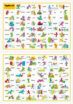 Här har jag samlat engelska verb på två sidor. English Verbs, Learn English Grammar, English Language Learners, English Lessons, English Vocabulary, Learning English For Kids, English Teaching Resources, Kids English, English Picture Dictionary
