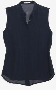 navy sleeveless button-down
