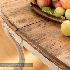 I'm sharing my dining table transformation. From dark old wood to Rustic French Elegance. When I first acquired this table, it was stained a dark walnut color and it had lots and lots of sc…
