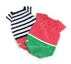 Learn how to Make this Knitted Watermelon ROMPER made with Stockinette stitch. FREE Step by Step Pattern & Tutorial. Baby Knitting Patterns, Knitting For Kids, Crochet For Kids, Free Knitting, Knit Crochet, Pull Bebe, Diy Bebe, Knitted Romper, Baby Sweaters