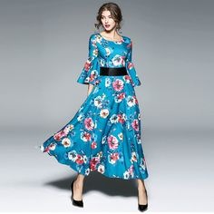 a96e94da8b683a New Arrival Women Floral print Dresses O-Neck Three quarter Sleeve Womens  Elegant Flare sleeve Long Party Dress Autumn Vestidos