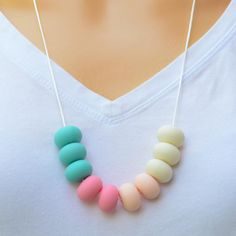 Teething Necklace Ice Cream by BubbaGummyJewellery on Etsy Gifts For Mum, Great Gifts, Pearl Necklace, Beaded Necklace, Necklaces, Bone Color, Teething Necklace, Light Peach, Bones