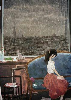 호우(Heavy rain) by 현현 on Grafolio Chillout Zone, Poster Print, Illustration Noel, Photo Print, Image Manga, Anime Art Girl, Anime Girls, Aesthetic Art, Cute Art