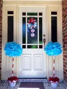 Thing 1 and Thing 2 Party Decorations - front entryway Party of 11