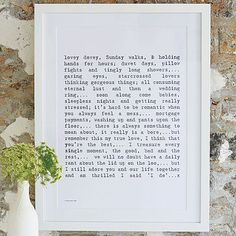 'Married Life' Poem Art Print. I like this print but also the idea of framed readings