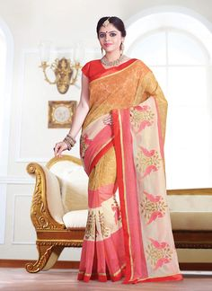 Add the sense of feminine elegance by this Beige and Salmon Super Net Saree. The ethnic Lace & Resham work at the clothing adds a sign of attractiveness statement with your look. Buy Online Designer Ethnic Saree, Party Wear, Ceremonial Wear, Kitty Party Wear, Festival Wear, Sarees, Shari, Sari, Indian Saris For women. We have large range of Designer Sarees Online in our website with the best pricing and unique designs shipping to World Wide.