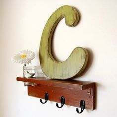 Wood Wall Letter C by OldNewAgain on Etsy   # Pin++ for Pinterest #