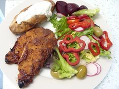 Jenny Eatwell's Rhubarb & Ginger: Three taste sensations in one dinner! Pork with rhubarb BBQ sauce and baked sweet potatoes. Rhubarb Bbq Sauce, Barbecue Sauce, Eating Well, Tandoori Chicken, Sweet Potato, Pork, Potatoes, Friday, Meat