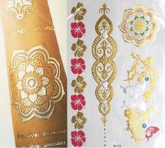 Jual metalic tattoo temporary tato temporer gold aksesoris pantai body art - MissDjuntak | Tokopedia