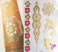 Jual metalic tattoo temporary tato temporer gold aksesoris pantai body art - MissDjuntak | Tokopedia
