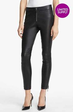 Elizabeth and James 'Addison' Lambskin Leather Moto Pants available at #Nordstrom