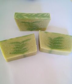 Cold process soap made green French argilez clay and with rosemary essential oil. Unfortunately is riddled with bubbles. #coldprocesssoap #green #essentialoils #clay #rosemary #handmadesoap