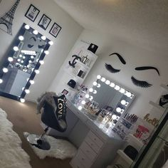 Bedroom Decor For Teen Girls, Cute Bedroom Ideas, Cute Room Decor, Girl Bedroom Designs, Teen Room Decor, Room Ideas Bedroom, Girl Bedrooms, Beauty Room Decor, Makeup Room Decor