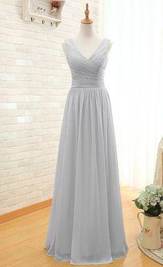 Discount Modest V-neckline Grey Bridesmaid Dress