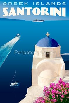 Vintage Santorini Travel Poster by Peripatetic Couple