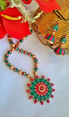 Round Flower Terracotta Necklace and Ear-hangings set