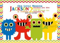 Baby Boy Monster 2nd Birthday Invitation by PartyInvitesAndMore, $10.00