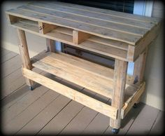 Upcycled Distressed Pallet Table on Casters by Alabaster Box Creations - traditional - outdoor tables - by Etsy