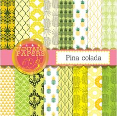 Pineapple digital paper pina colada yellow and green pineapple backgrounds tropical digital paper x 16 #etsymntt #digitalpaper