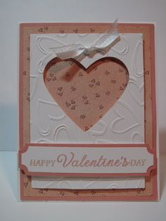 Hand made layered card using Stampin Up Heart Dies and Ticket Punch, Nestabilities A-2 Matting Basics A, Nestabilities A-2 Matting Basics B, Sizzix Paper and The Paper Studio Heart Embossing Folder