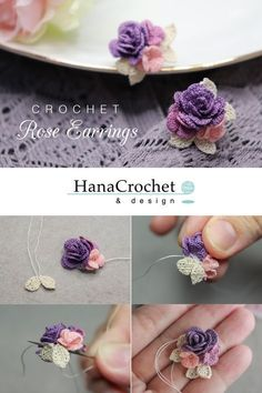 your own wedding jewelry that match your wedding bouquet. Get the full tuto. Make your own wedding jewelry that match your wedding bouquet. Get the full tuto. Make your own wedding jewelry that match your wedding bouquet. Get the full tuto. Diy Crochet Rose, Crochet Bouquet, Crochet Puff Flower, Crochet Flower Patterns, Thread Crochet, Irish Crochet, Crochet Designs, Crochet Crafts, Crochet Flowers