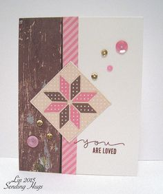 handmade quilt card ... Retro Sketch 156 .... pink and chocolate with white ... cute star quilt block focal point ...