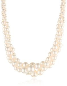 """Colored Simulated Three Strand Twisted Pearl Necklace, 18"""":Amazon:Jewelry"""