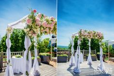 Ceremony arch with peonies and greenery  crystal mountain wedding photographer, traverse city wedding photography in northern michigan