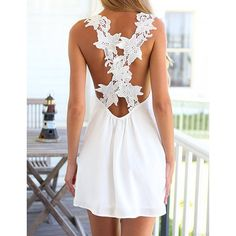 beautiful white Summer dress with crochet back straps