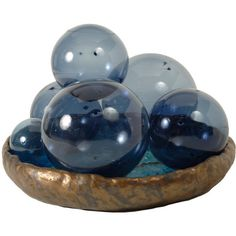 Set of 6 Handblown Sunballs by Iittala ❤ liked on Polyvore featuring home, home decor, decor, filler, glass home decor, blue home decor and iittala
