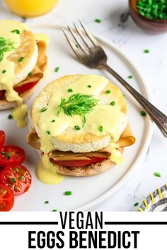 Have a nutritious and delicious breakfast with this Vegan Eggs Benedict made with buttery English muffins that are piled-high with vegan ham, fried tofu eggs, and the creamiest hollandaise sauce you'll ever have! Done in 30 minutes using simple pantry ingredients only. #veganhuggs #veganbreakfast #eggsbenedict Vegetarian Breakfast Casserole, Vegan Breakfast Recipes, Brunch Recipes, Vegan Recipes, Vegan Menu, Breakfast Ideas, Vegan Hollandaise Sauce, Eggs Benedict Recipe, Vegan