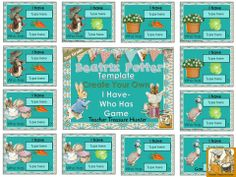 Make your own I have... Who has? game with this Beatrix Potter themed template.