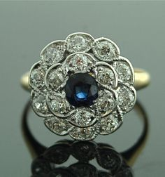Antique Ring  Diamond and Sapphire 14K Yellow by SITFineJewelry, $3350.00