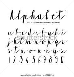 Hand drawn vector alphabet, font, isolated letters, numbers written with marker or ink