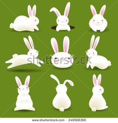 Collection of 9 white bunnies isolated on green background. No gradient mesh or transparencies used.
